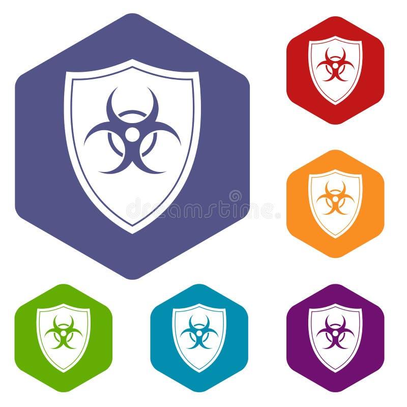 Schermo con le icone di un segnale di rischio biologico messe illustrazione di stock