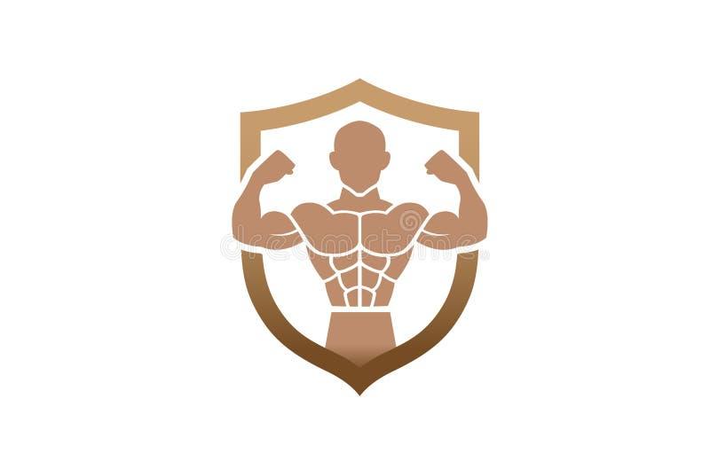 Schermo creativo Logo Design Symbol Vector Illustration della palestra del culturista illustrazione vettoriale
