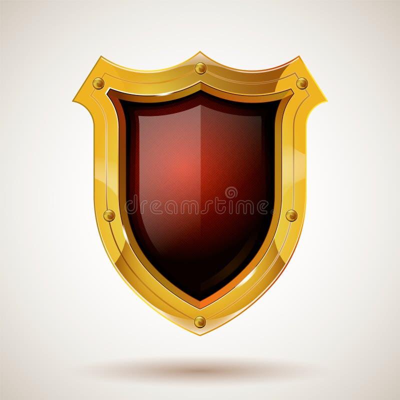 Schermo d'acciaio protettivo della guardia con gli occhiali di protezione Stile realistico Fondo isolato illustrazione di stock