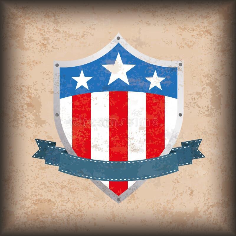 Schermo d'annata della bandiera degli Stati Uniti del fondo illustrazione di stock