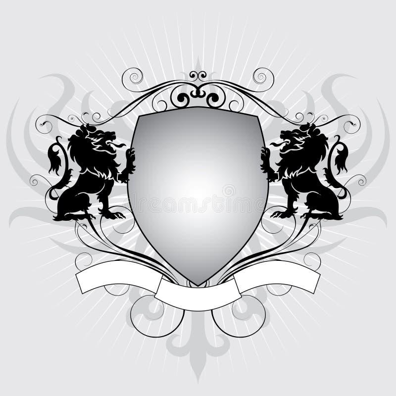 Schermo del leone dell'araldica illustrazione di stock
