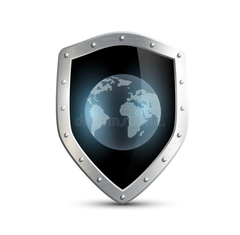 Schermo del metallo con l'immagine di pianeta Terra isolato sulla b bianca royalty illustrazione gratis