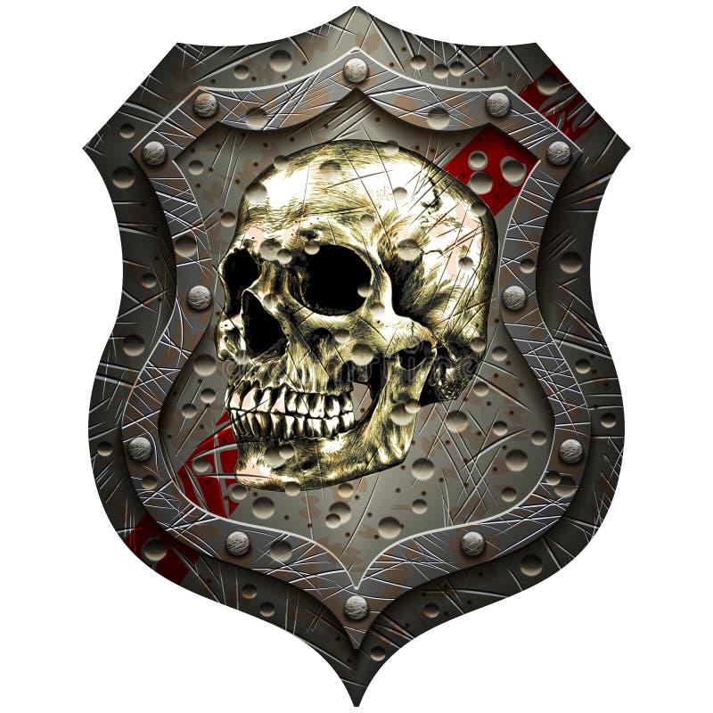 Schermo del metallo con un cranio umano illustrazione di stock
