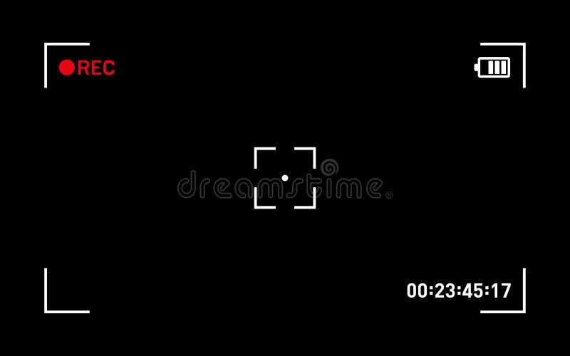 Schermo del nero del mirino della registrazione della macchina fotografica Vettore illustrazione vettoriale
