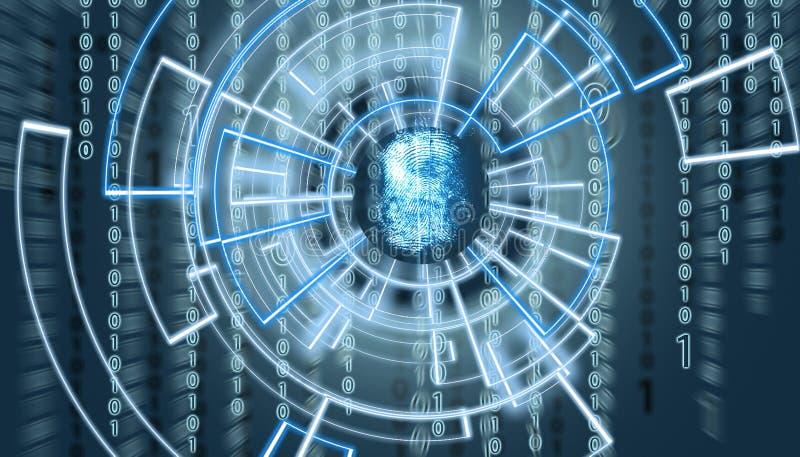 Schermo del OM dell'impronta digitale astratta con il codice della matrice nei precedenti e patern virtuali circondandolo fotografia stock