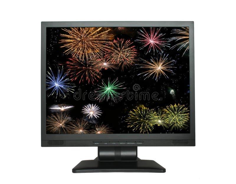 Schermo dell'affissione a cristalli liquidi con i fuochi d'artificio su bianco immagine stock