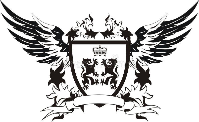 Schermo dell'annata con le ali ed i leoni illustrazione vettoriale