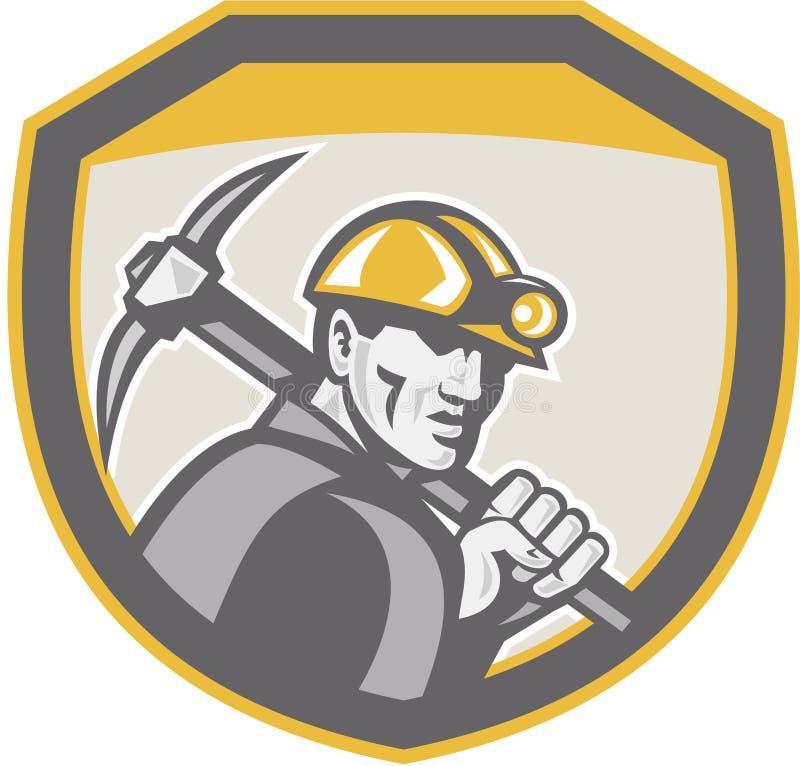 Schermo dell'ascia di Hardhat Holding Pick del minatore delle miniere di carbone retro illustrazione vettoriale