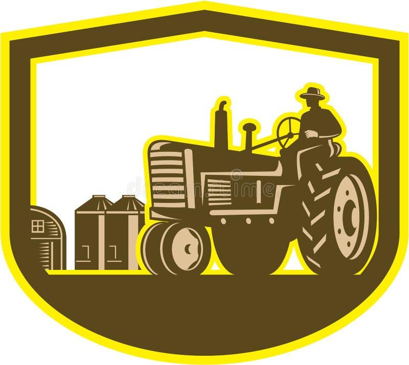Schermo dell'azienda agricola di Driving Tractor Plowing dell'agricoltore retro illustrazione vettoriale