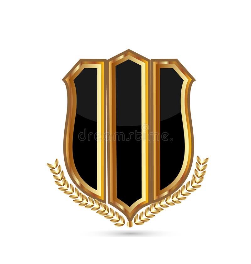 Schermo dell'emblema dell'oro su fondo bianco, vettore dell'icona illustrazione di stock