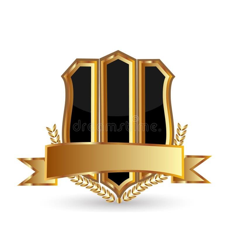 Schermo dell'emblema dell'oro su fondo bianco, vettore dell'icona illustrazione vettoriale