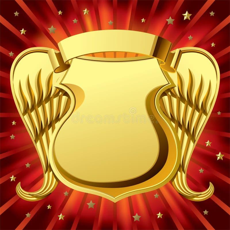 Schermo dell'oro con le ali illustrazione vettoriale