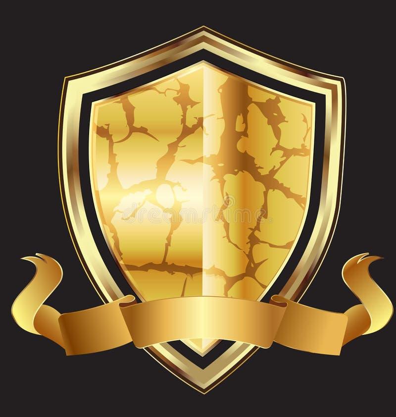 Schermo dell'oro con progettazione del nastro illustrazione vettoriale