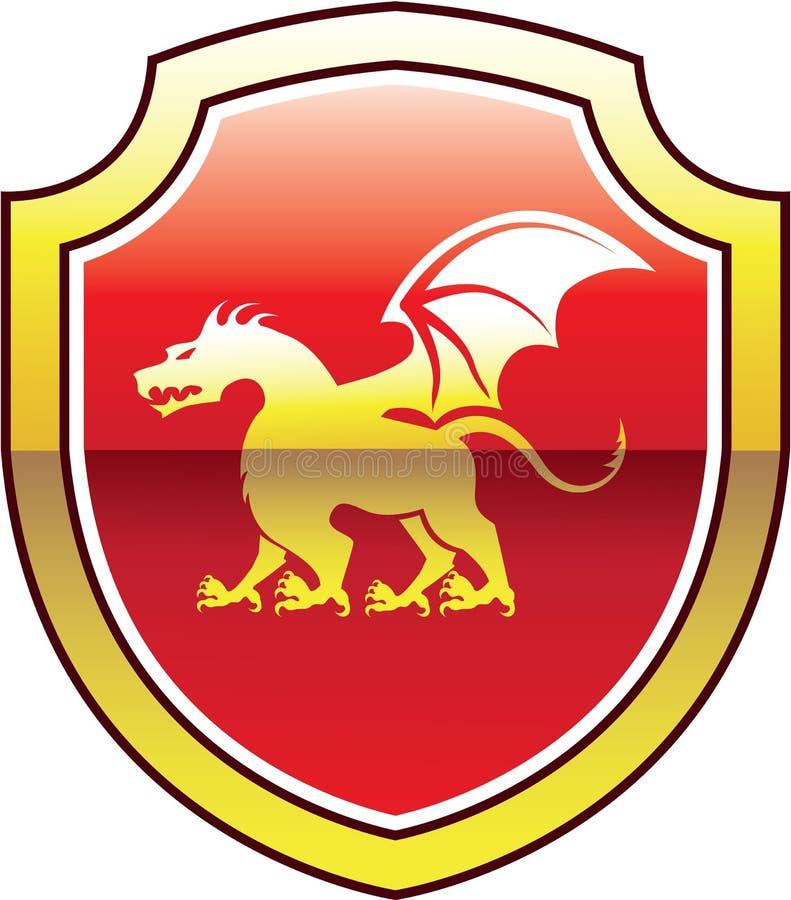 Schermo della stemma e vettore dorato del drago royalty illustrazione gratis