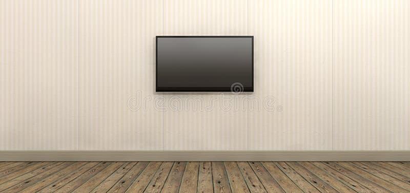 Schermo della TV montato sulla parete di carta royalty illustrazione gratis