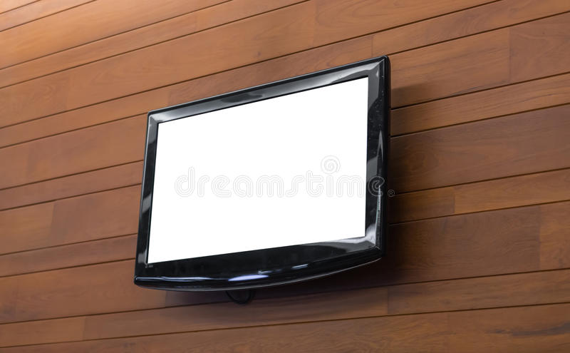Schermo della TV sulla parete fotografia stock