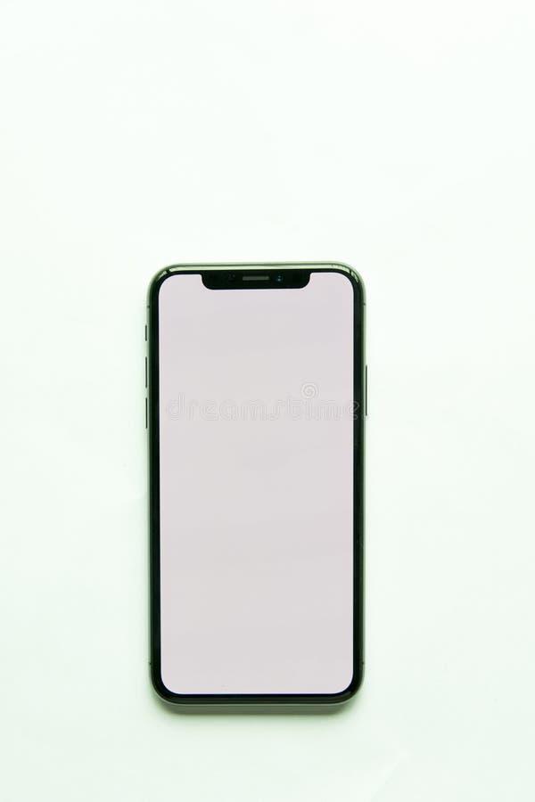 Schermo di bianco di Iphone X isolato fotografie stock