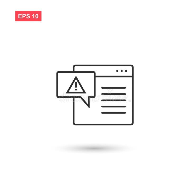 Schermo di computer con il virus di avviso isolato 3 illustrazione di stock