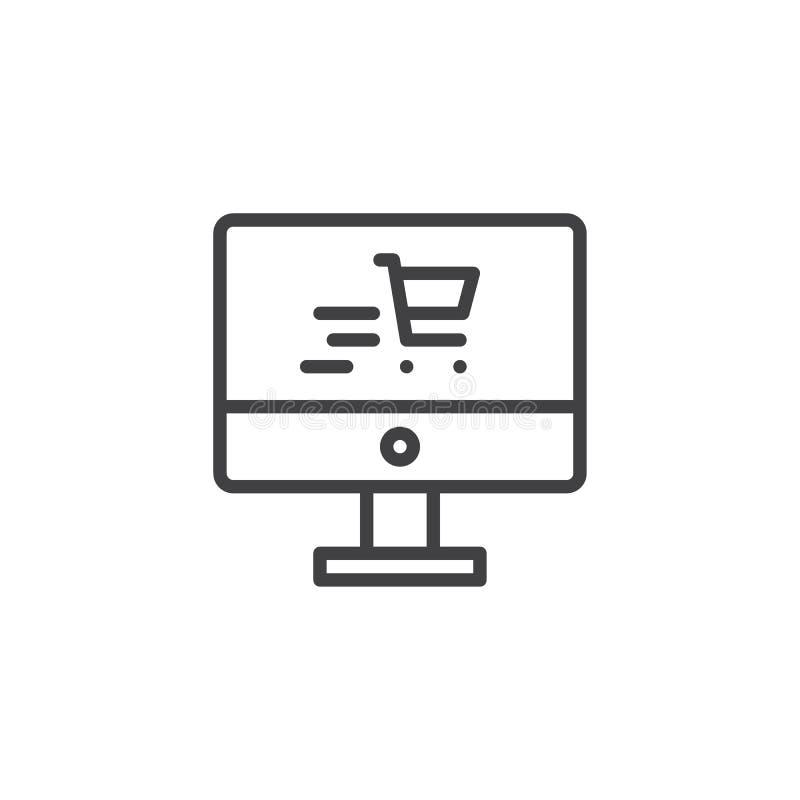 Schermo di computer con la linea icona del carrello illustrazione di stock