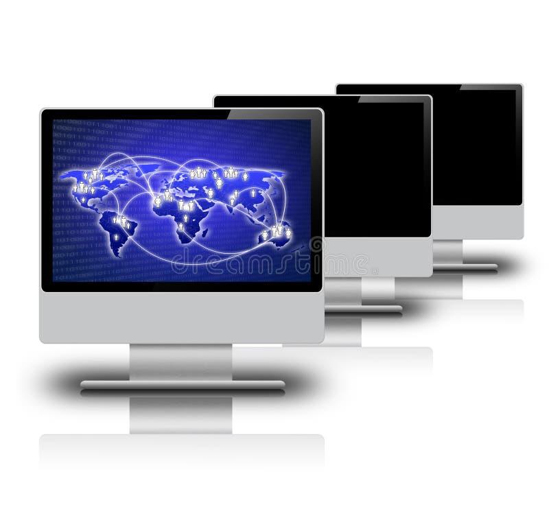 Schermo di computer su fondo bianco fotografie stock libere da diritti