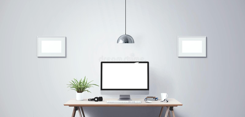 Schermo di desktop computer Fondo creativo moderno dell'area di lavoro Front View immagine stock