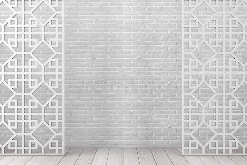 Schermo di legno bianco del divisore del modello nello stile arabo o cinese rappresentazione 3d illustrazione di stock