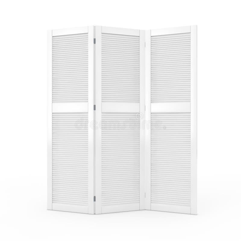 Schermo di legno piegante bianco del vestito rappresentazione 3d illustrazione di stock