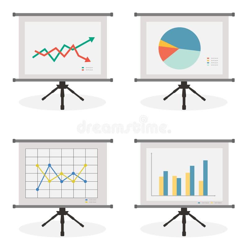 Schermo di presentazione con le azione, la torta, la linea e l'istogramma illustrazione di stock