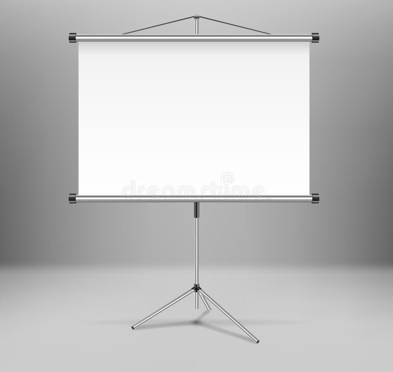 Schermo di presentazione del proiettore di lavagna isolato Supporto vuoto bianco dello schermo sul treppiede nella sala Illustraz royalty illustrazione gratis