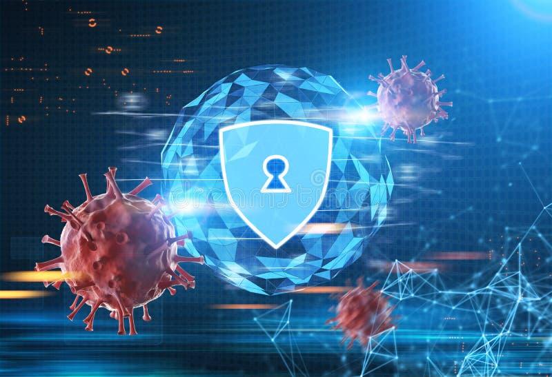 Schermo di sicurezza, un virus, poligoni e un globo illustrazione di stock