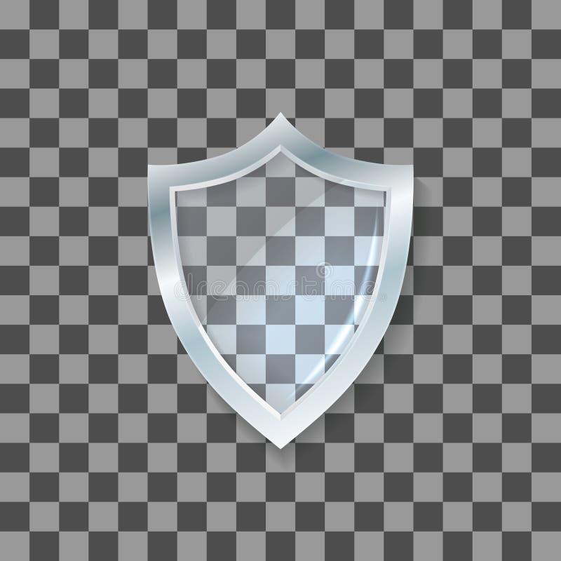 Schermo di vetro di vettore Icona della difesa Concetto di protezione illustrazione vettoriale