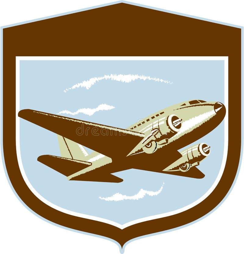 Schermo di volo dell'aeroplano dell'elica DC-10 retro royalty illustrazione gratis