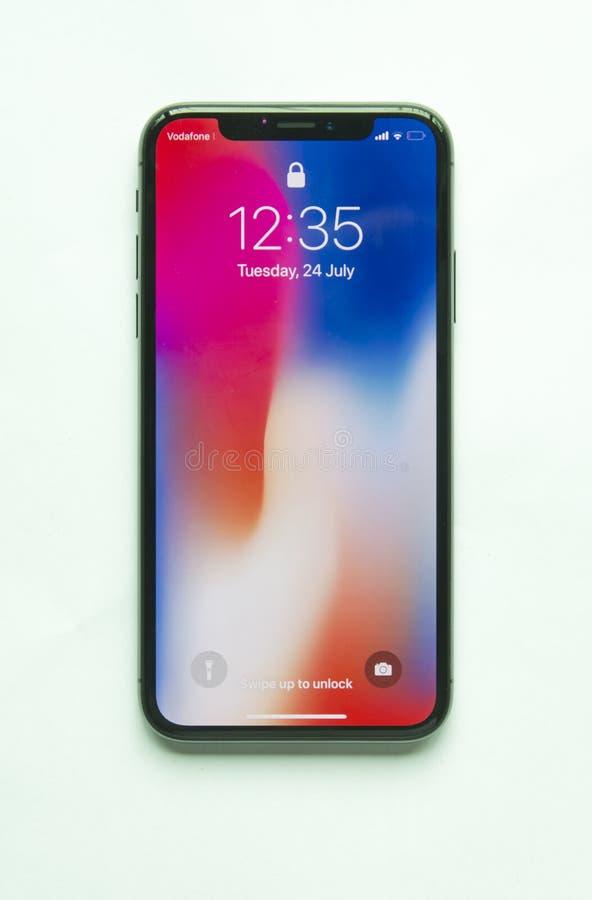Schermo domestico di Iphone X isolato fotografie stock libere da diritti