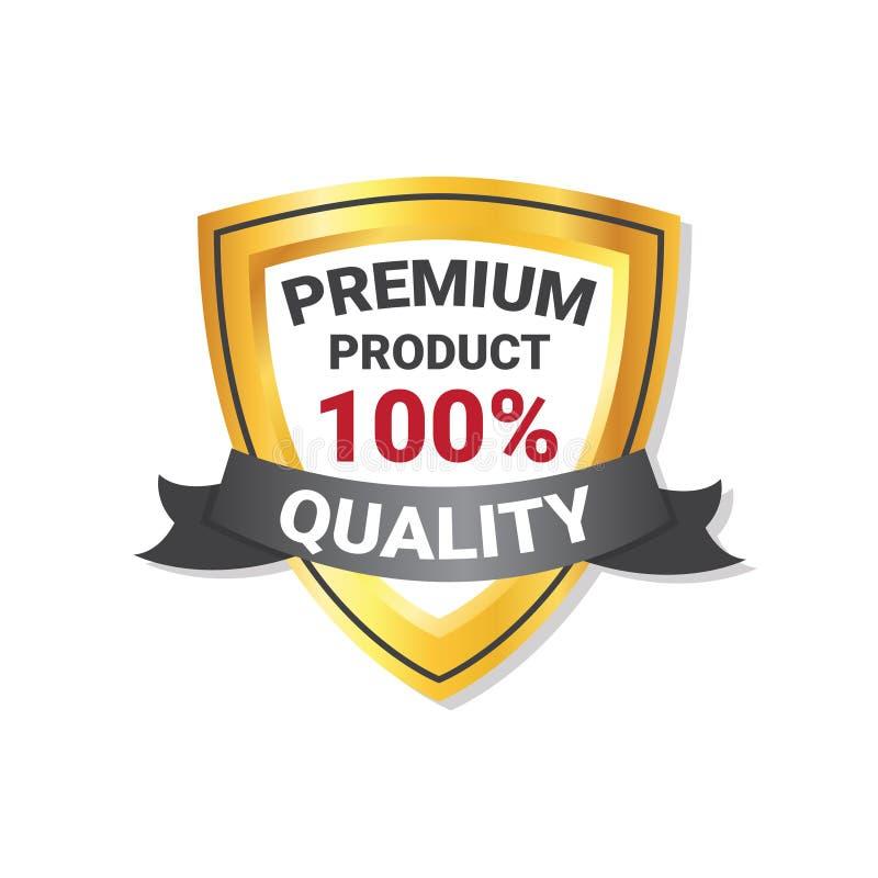 Schermo dorato dell'etichetta premio del prodotto di qualità con il marchio del nastro isolato illustrazione vettoriale