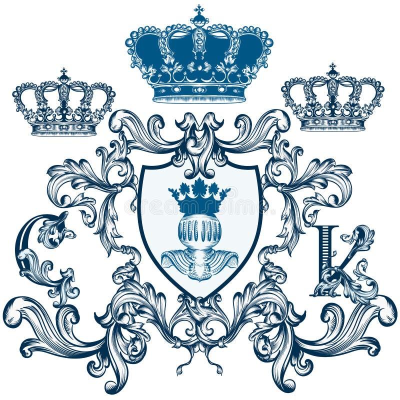 Schermo elegante araldico con la corona o cresta in annata classica royalty illustrazione gratis