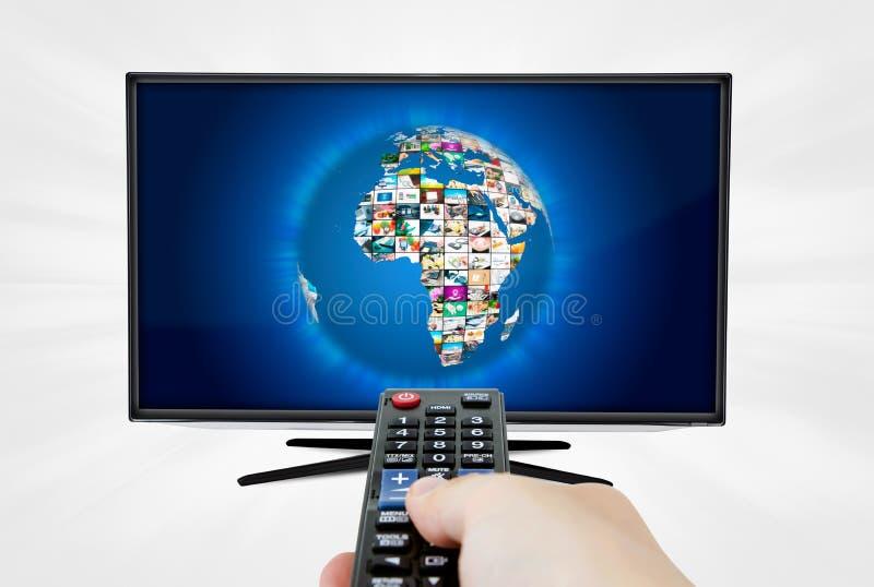 Schermo a grande schermo di alta definizione TV con la galleria del video della sfera immagini stock