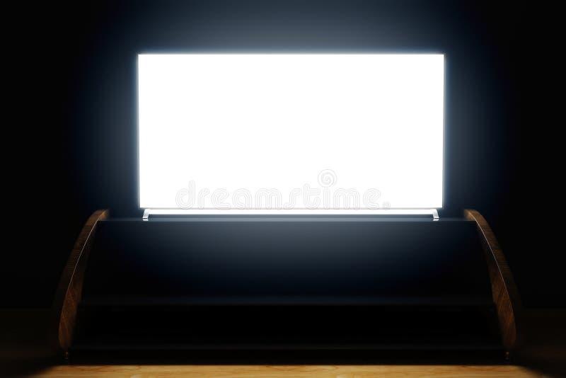 Schermo illuminato della TV nella stanza scura illustrazione vettoriale