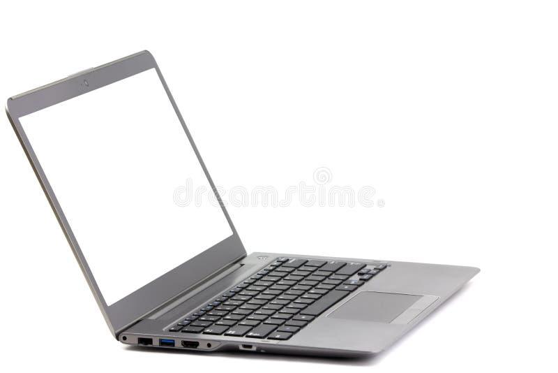 Schermo leggero isolato di bianco del computer portatile fotografia stock libera da diritti