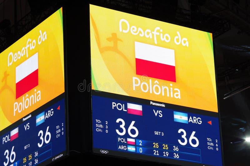 Schermo a Maracanazinho durante i Olympics Rio2016 fotografie stock libere da diritti