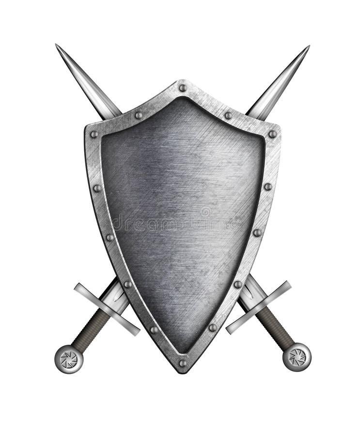 Schermo medievale del cavaliere con le spade attraversate isolate illustrazione di stock