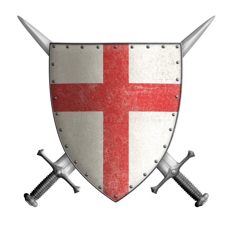 Schermo medievale del cavaliere del crociato con rosso trasversale e illustrazione di stock