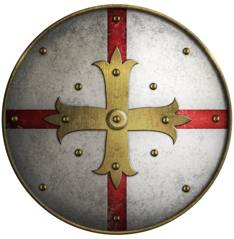 Schermo medievale rotondo con l'incrocio dorato fotografia stock