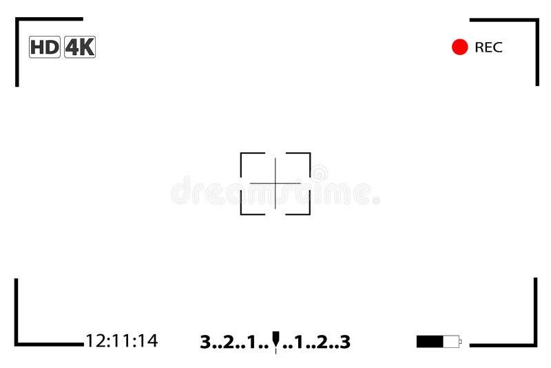 Schermo messa a fuoco del cercatore di vista della macchina fotografica illustrazione vettoriale