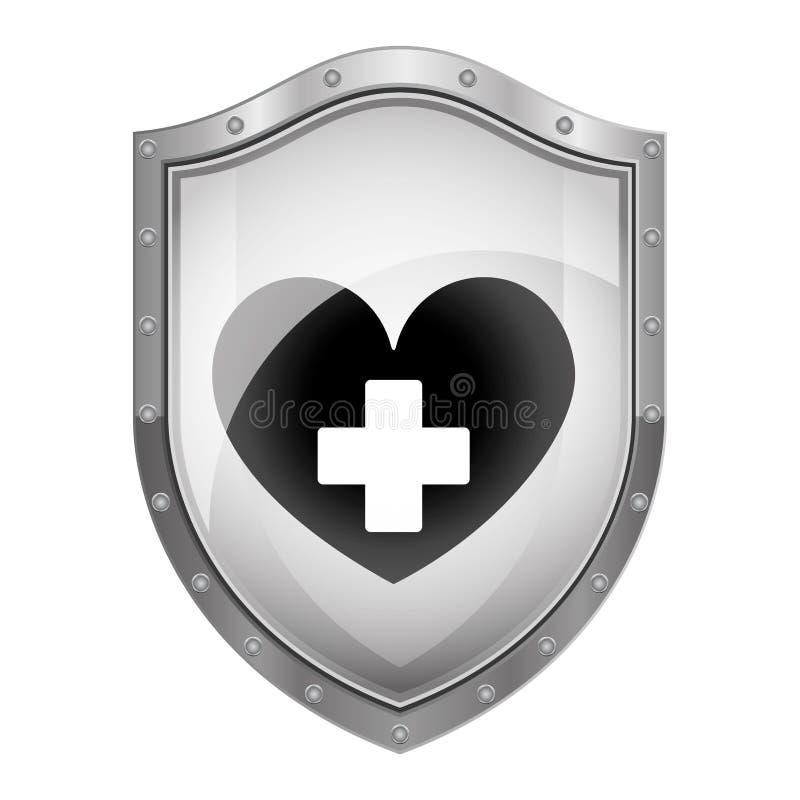 Schermo metallico con cuore e l'incrocio royalty illustrazione gratis