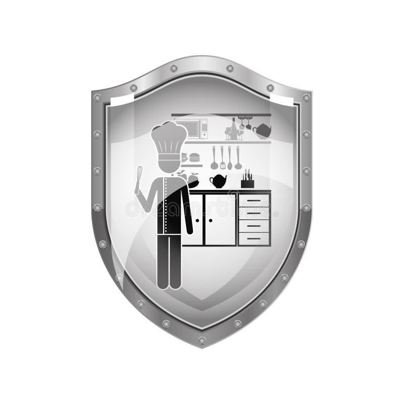 Schermo metallico del cuoco unico nella cucina royalty illustrazione gratis