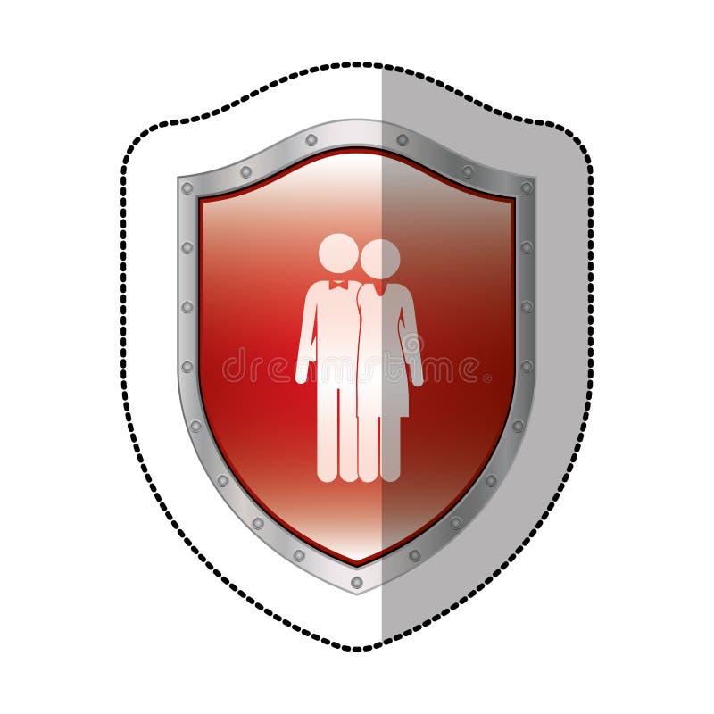 schermo metallico dell'autoadesivo con il marito e la moglie del pittogramma abbracciati illustrazione vettoriale