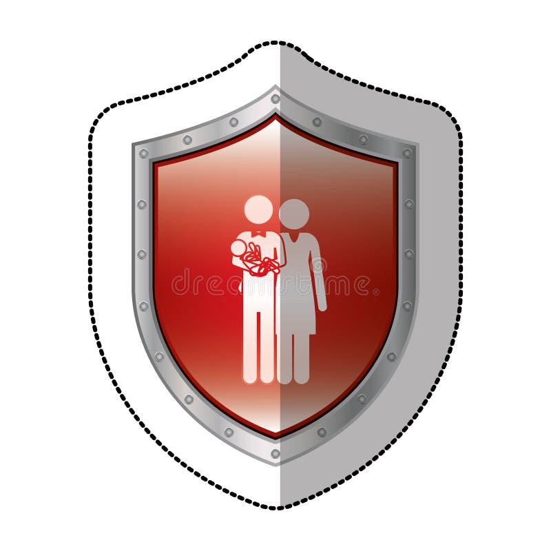 schermo metallico dell'autoadesivo con il pittogramma con i genitori ed il piccolo bambino in armi illustrazione vettoriale