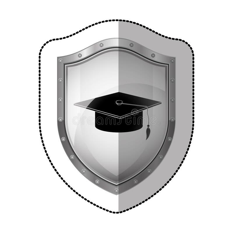 schermo metallico dell'autoadesivo con la siluetta del cappuccio di graduazione illustrazione di stock