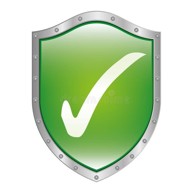 schermo metallico dentro con il simbolo di approvazione illustrazione vettoriale