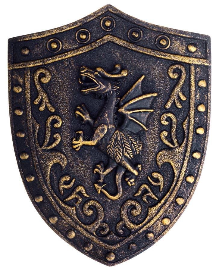 Schermo metallico di medio evo con il drago immagine stock